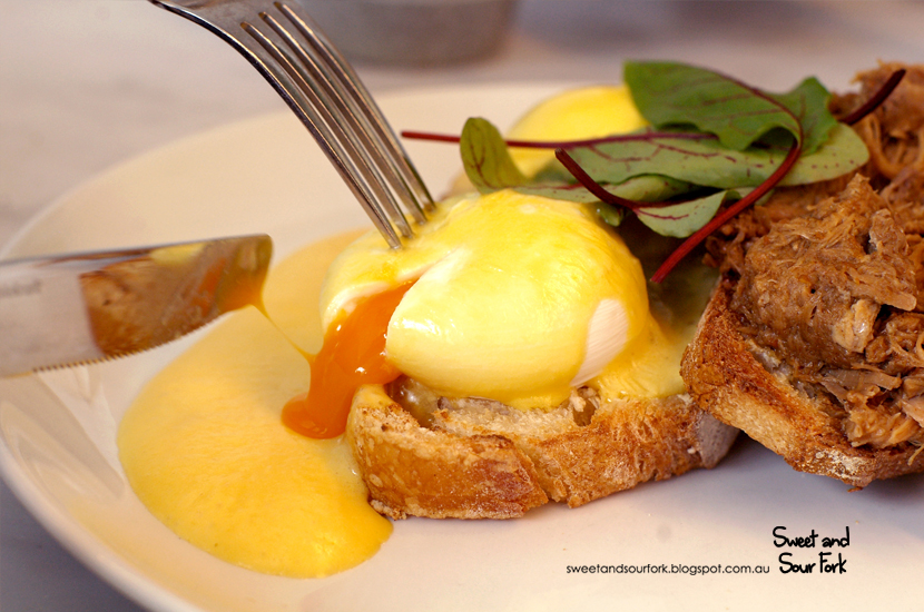 Benedict Styled Eggs with Free Range Pork Shoulder and Aerated Hollandaise ($17)