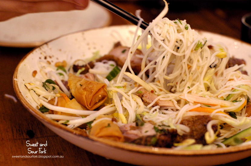 Grilled Chicken and Spring Rolls Vermicelli Noodle Salad ($13)