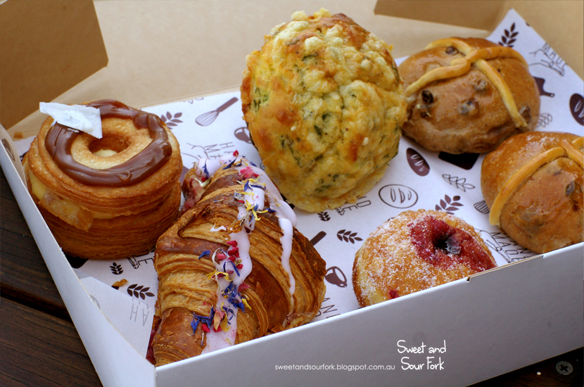 Salted Caramel and Vanilla Custard Cronut/Savoury Muffin/Hot Cross Buns/Ispahan Croissant/Blueberry Brioche Doughnut