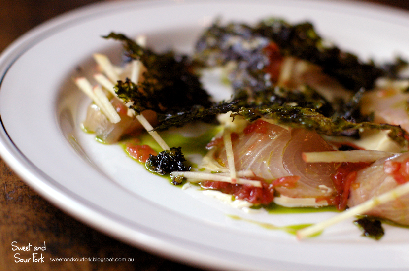 Raw Kingfish, Tomato, Oyster Mayonnaise & Laver ($18)