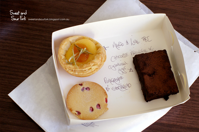 Mango and Lime Tart/Chocolate Brownie with Crystalised Ginger/Pomegranate Shortbread,