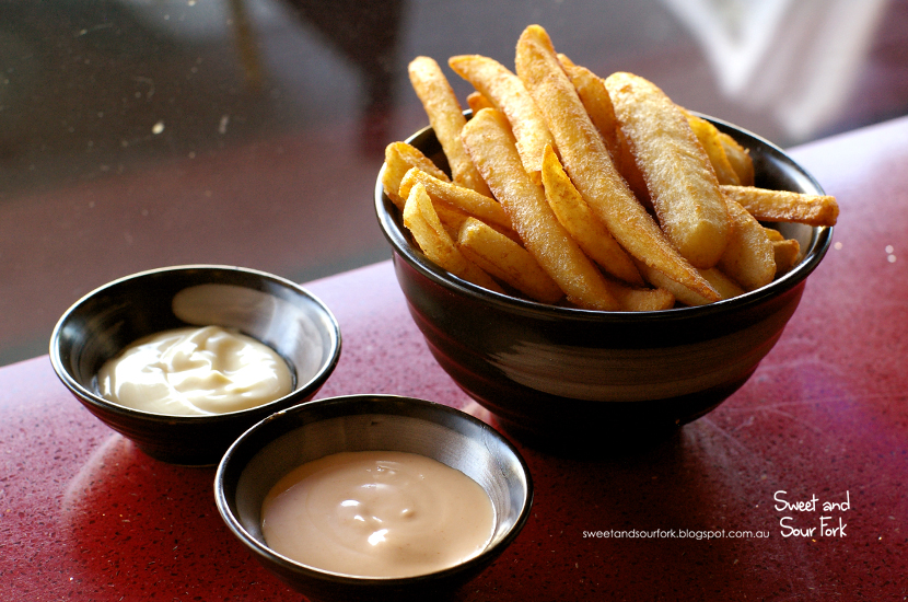 Beer Battered Chips with Special Seasoning ($4.5, small)/JD's Homemade Aurora Chip Sauce ($2)/Aioli Dipping Sauce ($2)