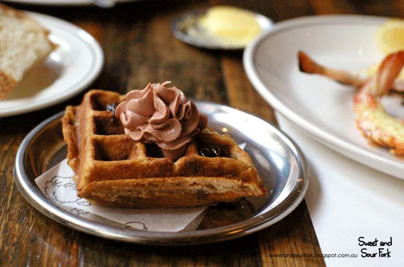 Duck Waffle, Foie Gras, Prune ($9ea)