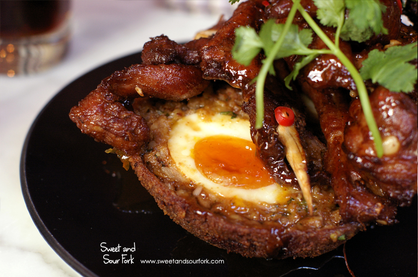 Chicken & Kaffir Lime Scotched Egg, Pork Ribs & Tamarind ($18.5)
