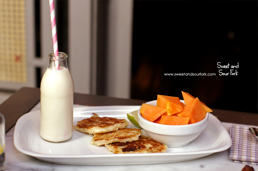 Soy Milk, Coconut Pikelets & Papaya ($14.5)