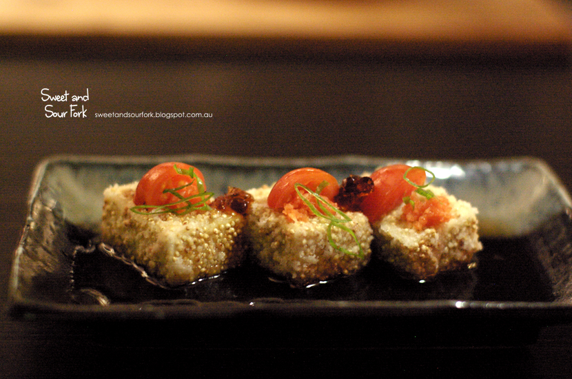 Agedashi Tofu, Quinoa, and Tomato ($11)