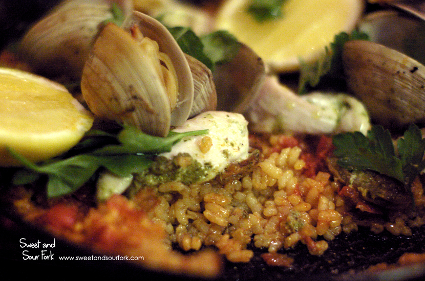 Paella with Chorizo, Chicken, Diamond Clams and Saffron ($36)