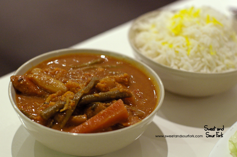 Mixed Veggie Curry ($11, small)/Saffron Rice ($3, small)