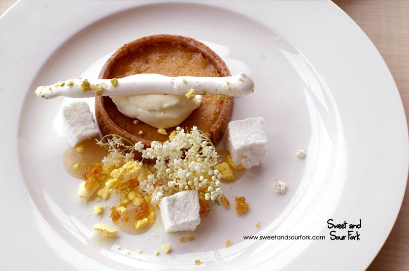 Salted Caramel Tart, Pear, Ginger Praline & Mascarpone ($15)