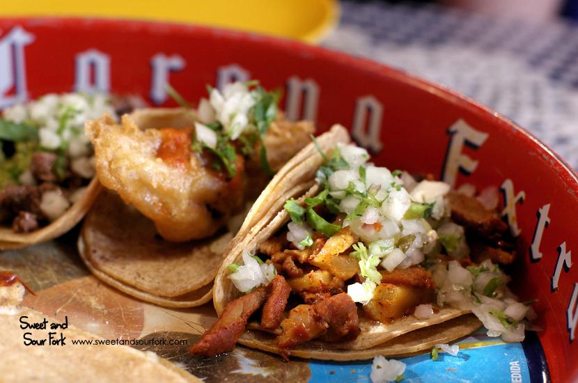 Al Pastor Taco ($4.8)/Pescado con Salsa de Arbol ($4.8)