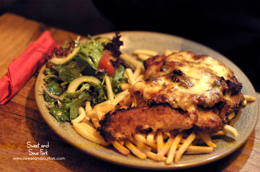 Chicken Parmagiana with Smoked Kangaroo, Fries, and Salad ($25)