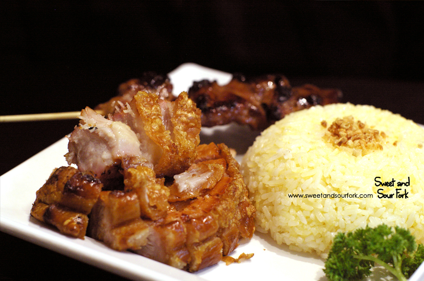 Lechon on Rice ($12.5) with Pork Skewer ($4.5)