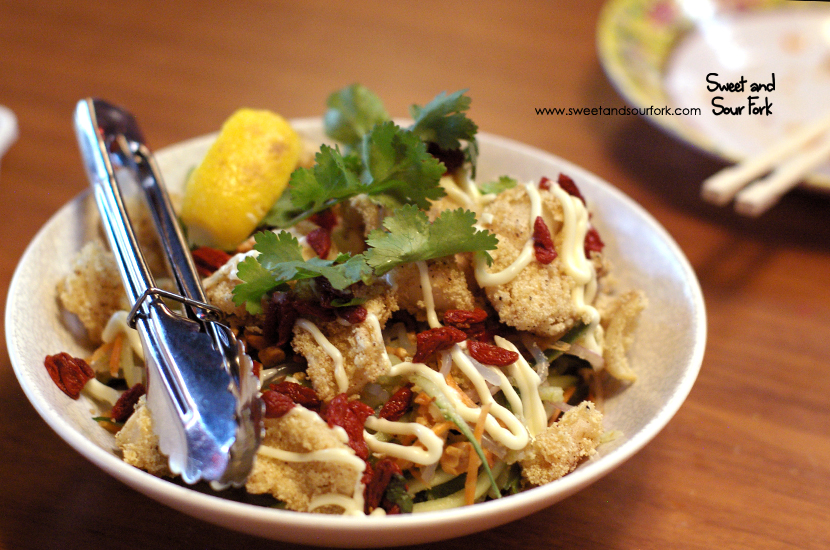 Salt and Pepper Squid on Glass Noodle Salad ($18)