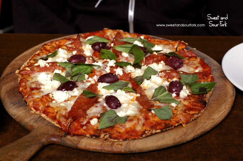 Chorizo, Olives, Feta and Basil Flatbread ($19)