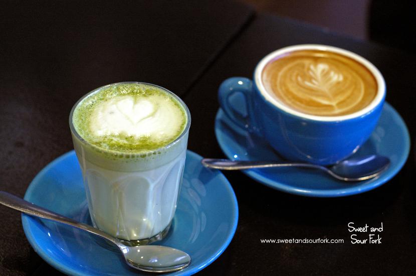Matcha Latte ($4.5) /Skinny Flat White ($3.7)