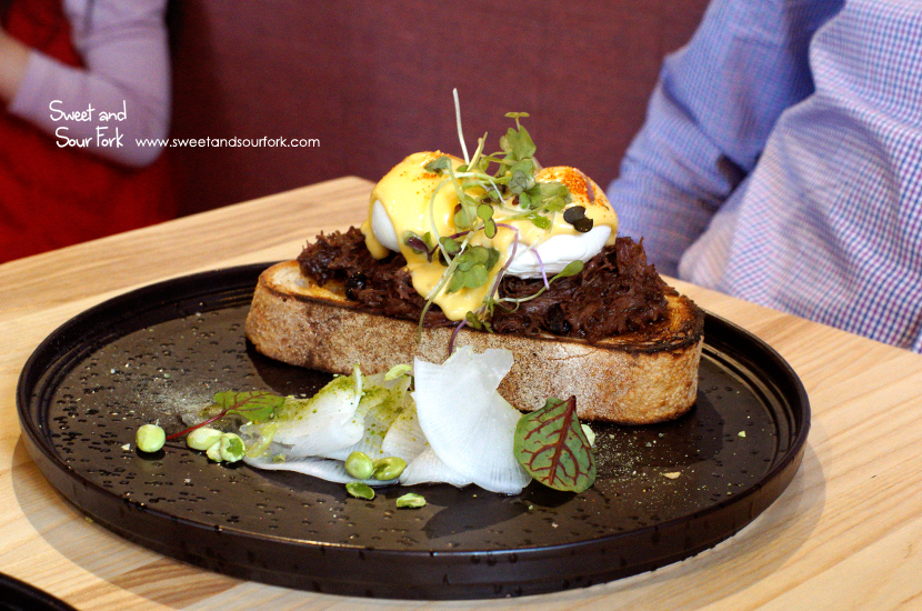 Ox Cheek Black Bean Eggs Benedict ($20)
