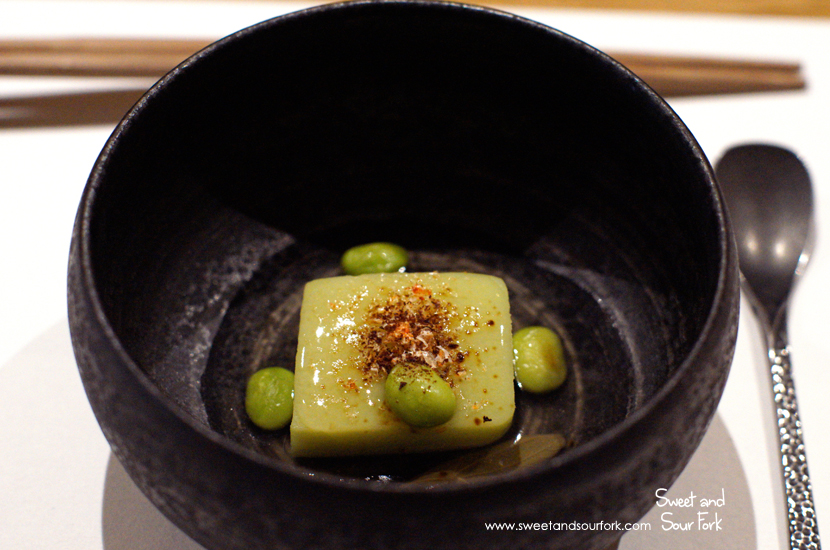 Edamame Tofu with Sakura Prawn Powder and Ginseng Jelly