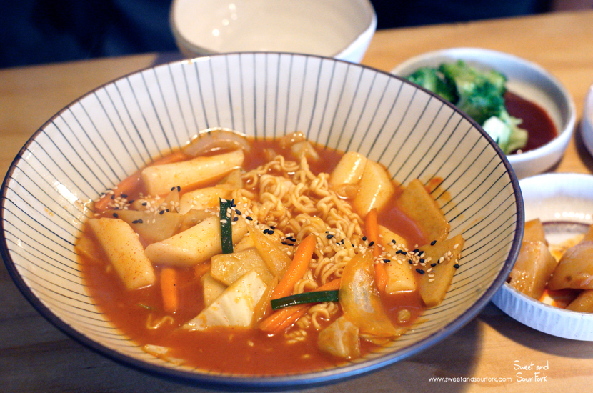 Spicy Korean Rice Cake ($12) with Instant Noodles ($2)