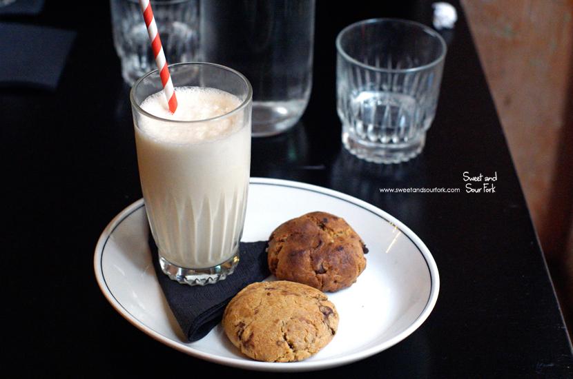 Triple Chocolate And Pretzel Cookies, Vanilla Malt Shake ($11)