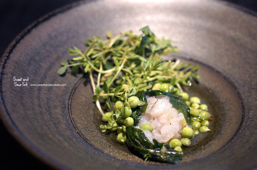 Raw Flounder, Peas, Unripe Plum and Blackcurrant Leaf