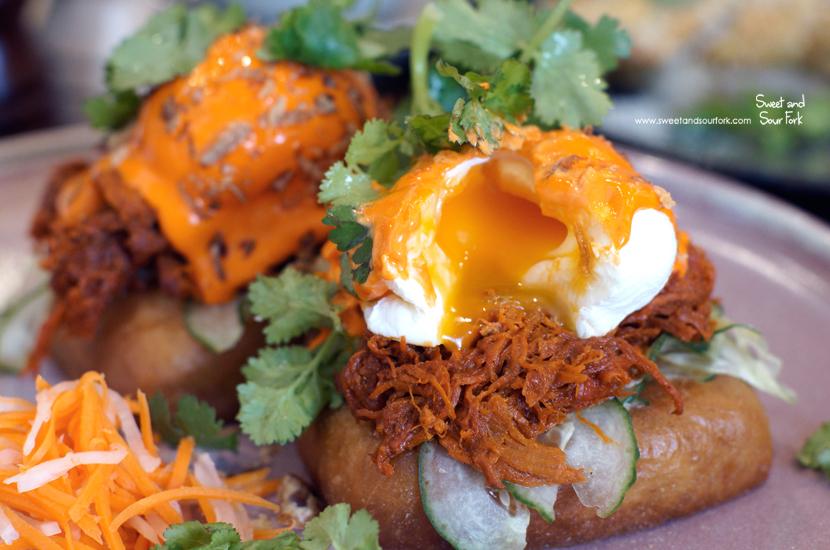 Char Siu Pulled Pork + Eggs Benny ($20)